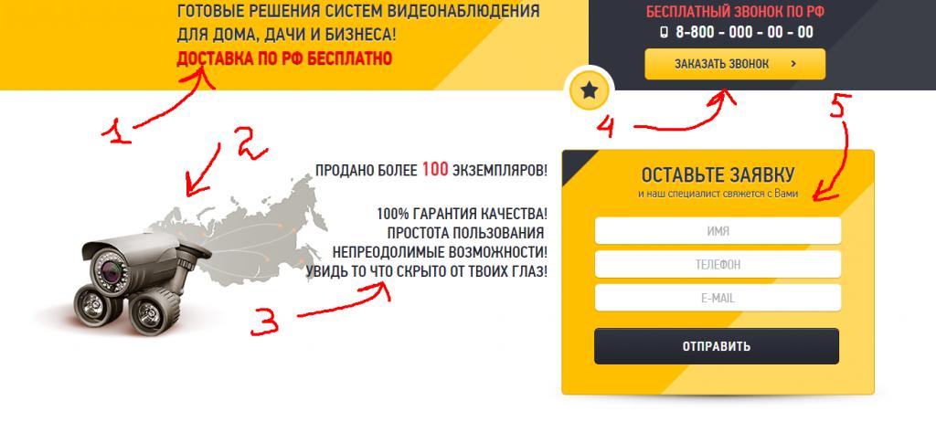 Главный экран одностраничного сайта