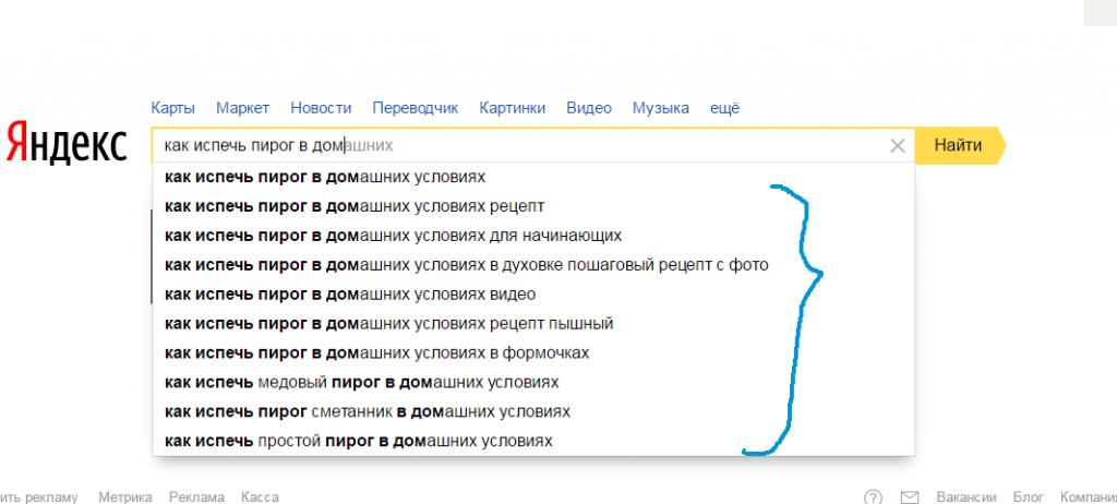 Хвост основного запроса в Яндекс