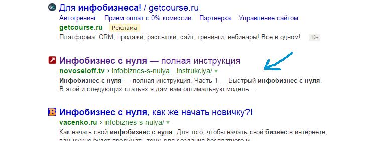 Как Яндекс показывает описание сайта