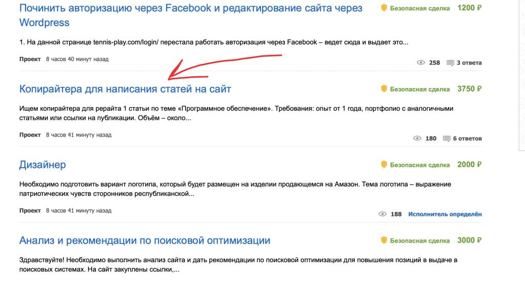 Пример заказа на бирже fl.ru